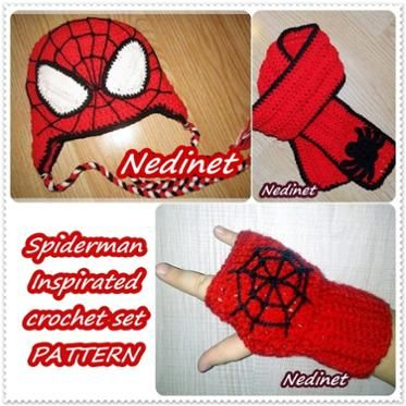 Spiderman crochet hat pattern, scarf and gloves