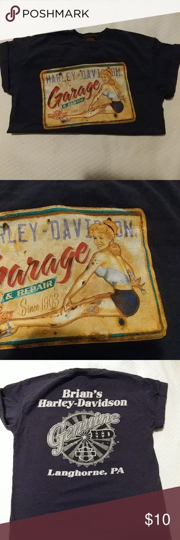Harley Davidson T-Shirt Navy blue size medium ladies t-shiDr. Graphic is meant to look like a distressed metal sign. The shirt itself is in excellent condition. Harley-Davidson Tops Tees - Short Sleeve