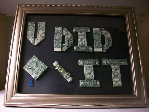 You Did It Graduation Sign Money Origami - Dollar Bill Art