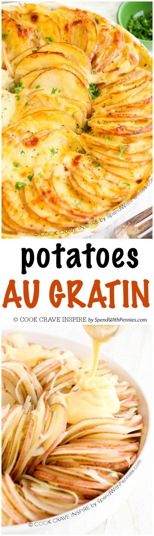 Potatoes Au Gratin is easy to make and is one of my favorite side dishes. This cheesy potato casserole has layers of thin potatoes with a quick homemade cheese sauce and is baked until browned and bubbly! Pretty enough for guests, easy enough for any day of the week!