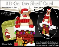 3D On The Shelf Card Kit - Christmas Rudolph Is Helping Santa Take The Presents Down The Chimney