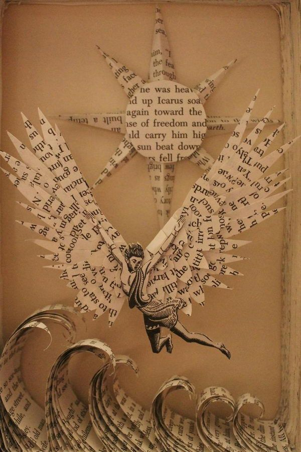 Icarus Book Sculpture, Cool Book Sculptures for Inspiration, http://hative.com/book-sculptures/,