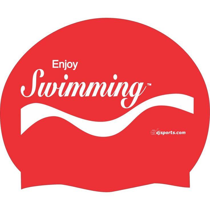 Enjoy Swimming Silicone Swim Cap :: Silicone Swim Caps :: Swim Caps :: Swim Gear :: D&J Sports so cool like coca cola swimming combo love it