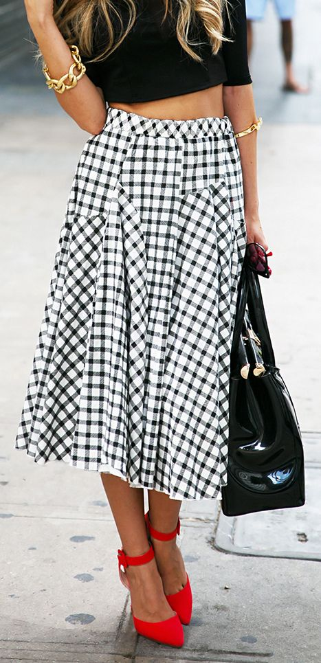 summer outfits womens fashion clothes style apparel clothing closet ideas Checkered swing skirt orange heels black handbag