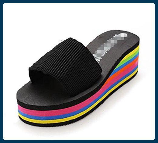 Summens Damen Mode Sandalen Flip-Flops Dusch- & Badeschuhe (37 EU, Schwarz) - Zehentrenner für frauen (*Partner-Link)