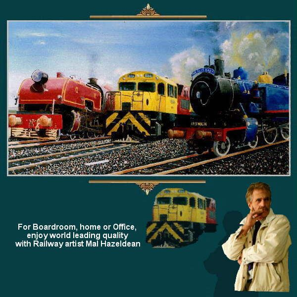 A display of 3 generations - For Boardroom, home or Office, enjoy world leading quality with Railway artist Mal Hazeldean https://www.youtube.com/watch?v=s1rg_kixu_w greatvideo@yahoo.com.au