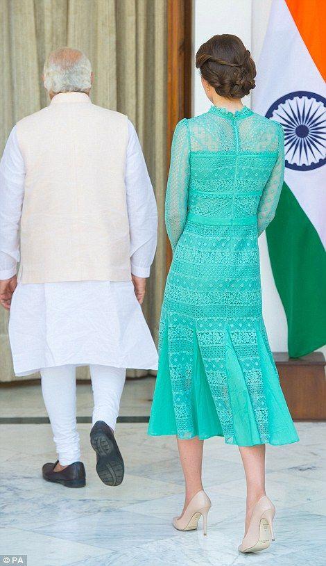 Duchess of Cambridge meets Prime Minister of India Narenda Modi in New Delhi's Hyderabad