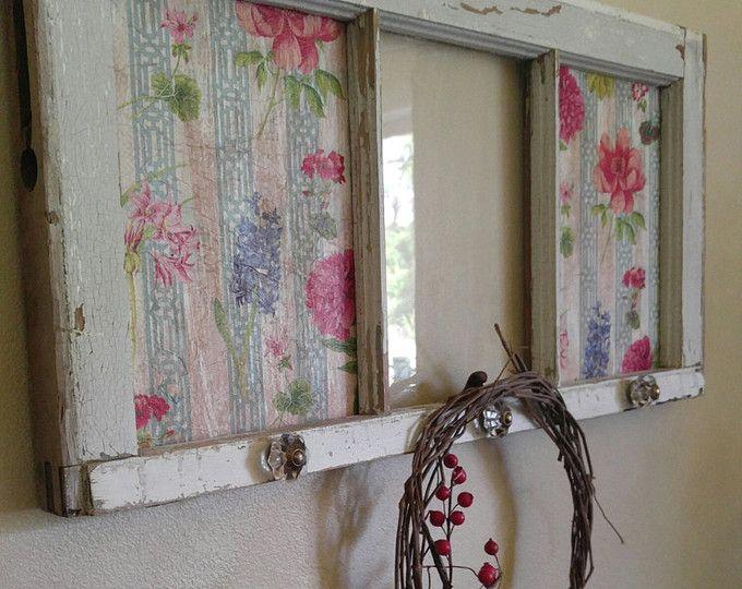 Arte de ventana, arte de pared de la ventana, ventana antigua, ventana Shabby Chic, antigua decoración de ventana, ventana repurposed, arte del panel de ventana, panel de 3, ventana del decoupage