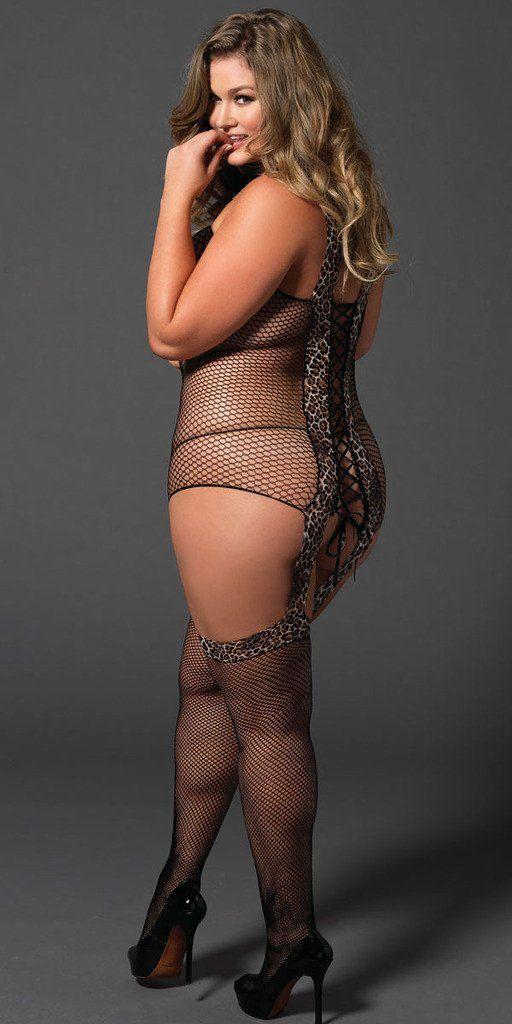 Sexy Plus Size Flirty Reversible Fishnet Bodystocking With -9758