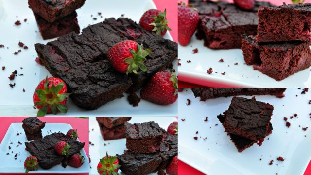 Paleo Beet Brownies with strawberries