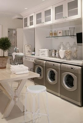 I LOVE this laundry room. So clean and fresh!: Laundryrooms, Dream Laundry, Ideas, Mudroom, Folding Table, Dream House, Mud Room, Laundry Rooms