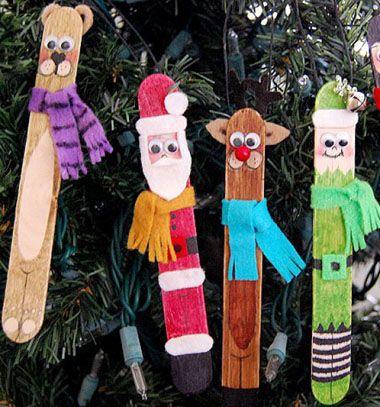 Adorable popsicle stick figures / Jégkrém pálcika figurák - karácsonyfadíszek / Mindy - craft tutorial collection