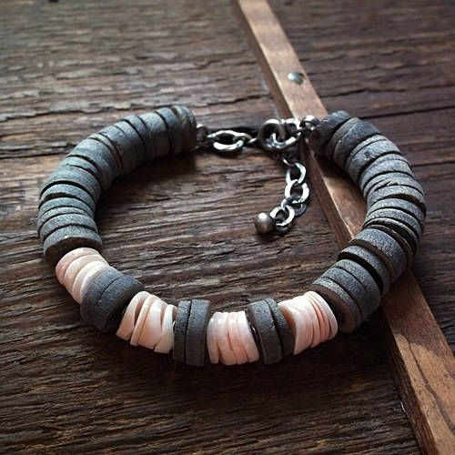 ROUGH AND SMOOTH, grey shell, pale pink shell, grey - pink bracelet, shell bracelet, sterling silver by pieceofmysoulArt on Etsy