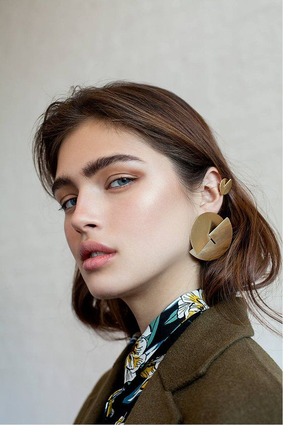 Cookie earring / gold, minimalist silver earring, geometric gold earrings, long post stud earring gold, cocktail earring, modernist earring