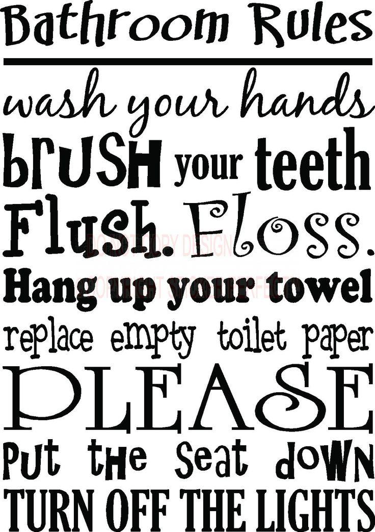 Bathroom rules wall art bathroom rules cute for Bathroom sayings for walls