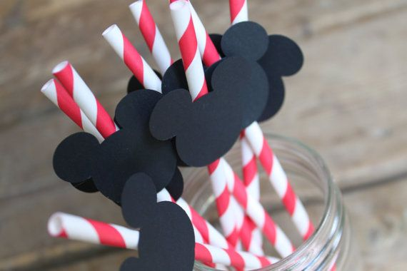 Red Pixie Striped Paper Straws Embellished with Mickey Mouse - Set of 10. $7.50, via Etsy.