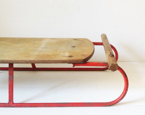 Vintage wooden sledge with red metal frame quirky by GoodsGarb