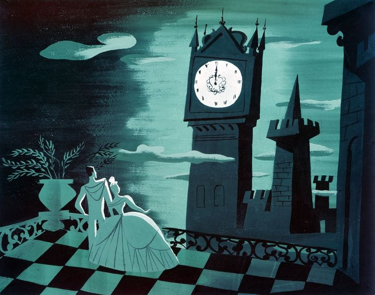 """Cinderella concept painting by Mary Blair.  I think she invented the """"color stylist"""" credit."""