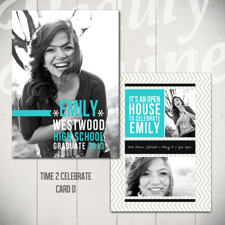 Senior Announcement Card Template: Time To Celebrate D - 5x7 Graduation Card Template. Etsy | Beauty Divine