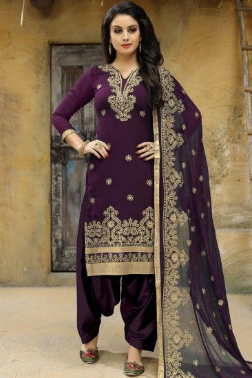 9282d3d428 ... Dresses Online Shopping. Lovely Silk Patiala Suits In Wine Purple Color  - LSTV0775