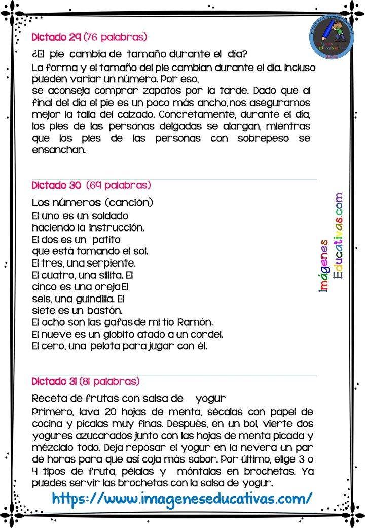 30 Dictados Para Primaria 1º 2º Y 3º Ciclo 9 Como Enseñar A Leer Enseñando A Escribir Fluidez De La Lectura