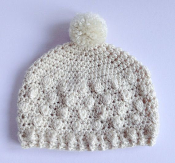 Cream Bobble Hat. Crochet winter Hat. Newborn to Adult Beanie. Christmas Gift for Her