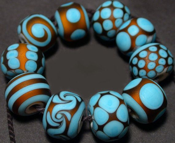 Glass Lampwork Beads Handmade Turquoise Topaz by RadiantGlassWorks