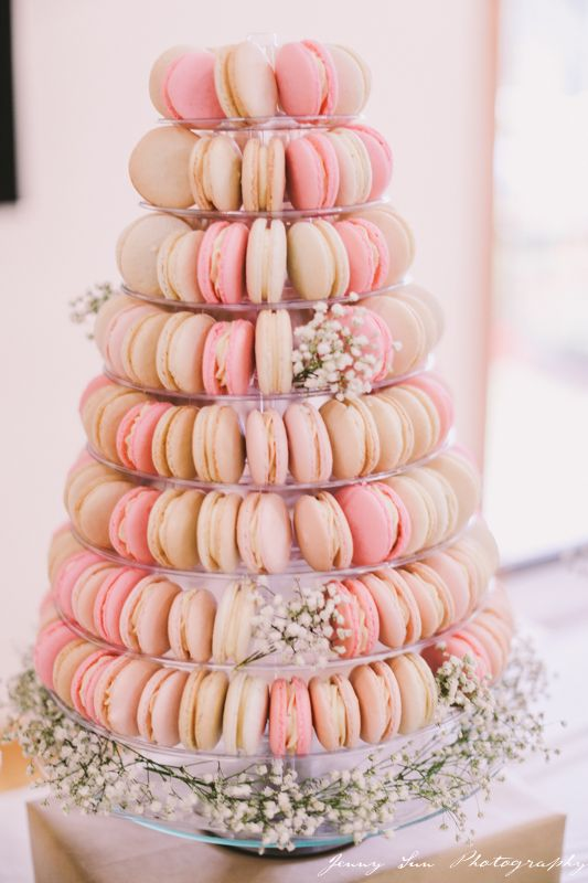 Macaron Tower styled with baby's breath - by 'A Sweet Tale'