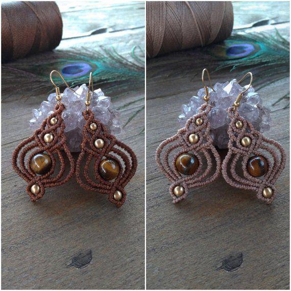 bronze earrings vintage boho style Macrame earrings in pale green with tiger eye