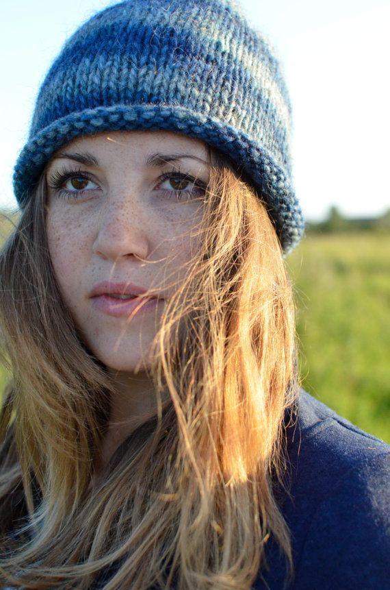 Hand knitted blue hat 100  Icelandic wool by Kollestrik on Etsy, $55.00