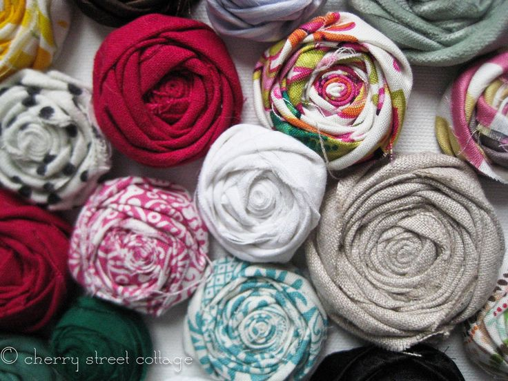 Fabric flower tutorial. I can think of a million uses for these.. Headbands, lampshade, pins, bows for gifts, texture for throw pillows...