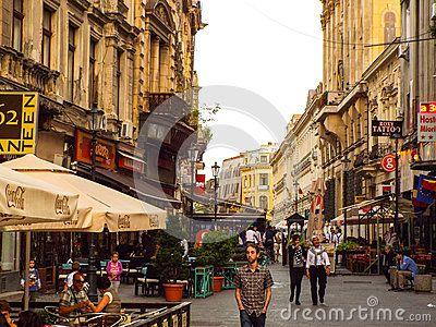Beautiful street in downtown Bucharest Romania