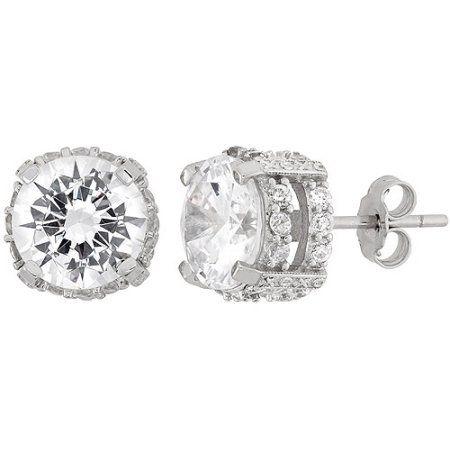 White CZ 9mm Round Fancy Gallery Sterling Silver Stud Earrings, Women's