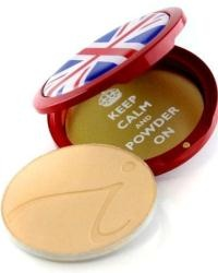 Jane Iredale limited edition Keep Calm and Powder On pressed mineral foundation compact. The patriotic mirrored compact has been created to celebrate the London 2012 Olympics, Paralympic Games and the Queen's Diamond Jubilee.