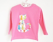 Organic Fair Trade Long Sleeved Pink Cotton T-Shirt with Appliqued Cat,  6 - 12 months