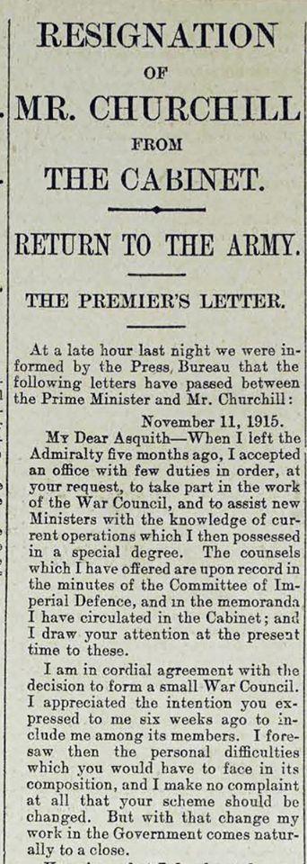Crónica del periódico londinense Daily Telegraph en donde se publica la carta de renuncia de Sir Winston Churchill al Primer Ministro Herberth Asquith.