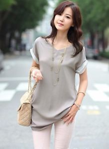 UK Womens Short Sleeve Blouse Grey Casual Smart Top Ladies Girls Clothes Shirt