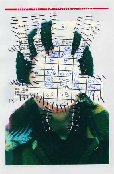 Mutterpass II. Personal Identity 2003-14. Self-portraits with sewn-in original documents, birth certificate, SIM cards.
