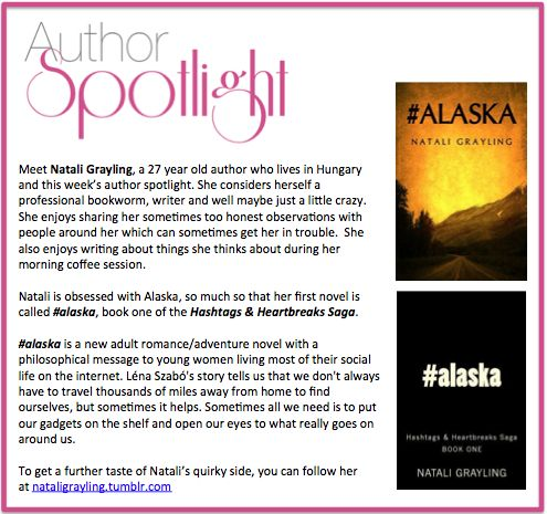 Check out this week's #AuthorSpotlight: #NataliGrayling #alaska #Hashtags & #Heartbreaks #Saga #romance #novel