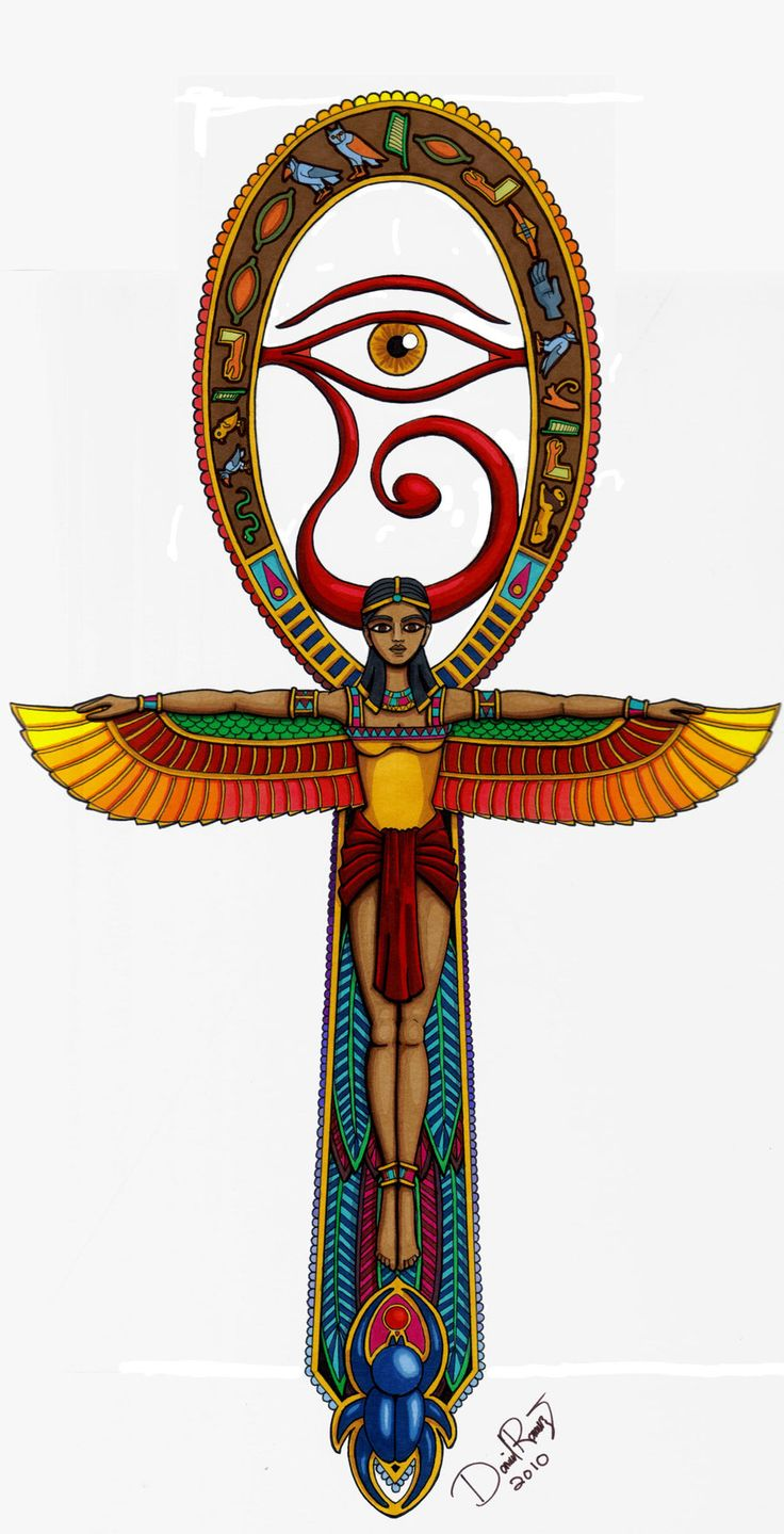"""Ankh  also known as key of life, the key of the Nile or crux ansata (Latin meaning """"cross with a handle""""), was the ancient Egyptian hieroglyphic character that read """"life"""", a triliteral sign for the consonants ꜥ-n-ḫ. Egyptian gods are often portrayed carrying it by its loop, or bearing one in each hand, arms crossed over their chest."""