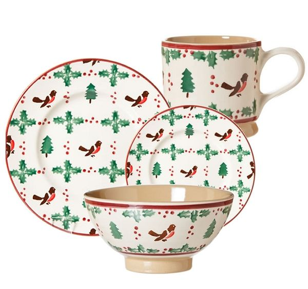 Winter Robin Place Setting at Ann Marie's. Lovely Dinner Plate, Lunch Plate, Medium Bowl and Large Mug.