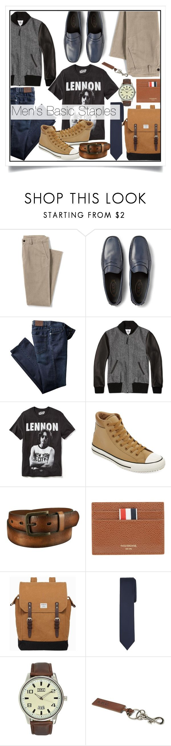 """""""Men's Basic Staples"""" by amira ❤ liked on Polyvore featuring Lands' End, Tod's, Golden Bear, Old Navy, Converse, Uniqlo, Thom Browne, Sandqvist, MN Watches and A.P.C."""