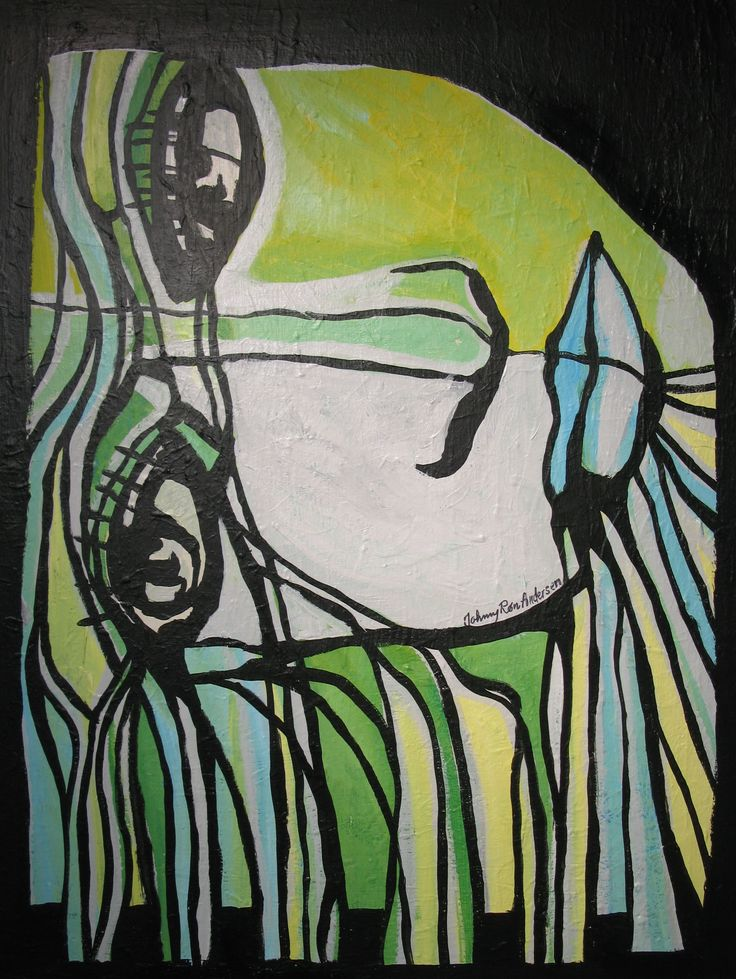 Maleri work women green 60x80 cm