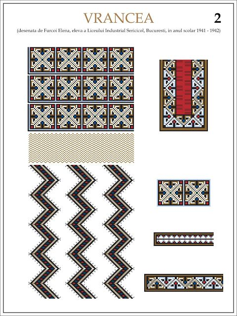 Semne Cusute: ie din VRANCEA (2)   Modele de ii Romanesti din caietul elevei Furcoi Elena, de la Liceul Industrial Sericicol Bucuresti, care a desenat aceste planse in clasa a VIII-a, anul scolar 1941 - 1942