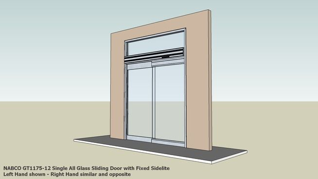 Large preview of 3D Model of 01 NABCO GT1175-12 Single All Glass Sliding Door with Fixed Sidelite