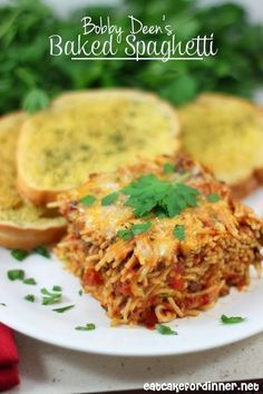 Bobby Deen's Baked Spaghetti - A family favorite recipe that even tastes amazing leftover.