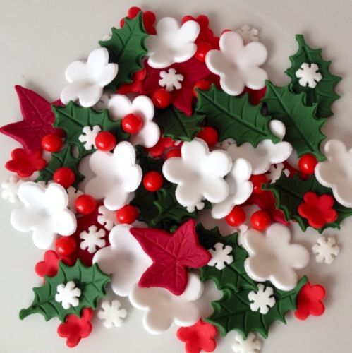 Christmas Cake Toppers Edible Sugar Paste Flowers Holly IVY Cake Decorations | eBay