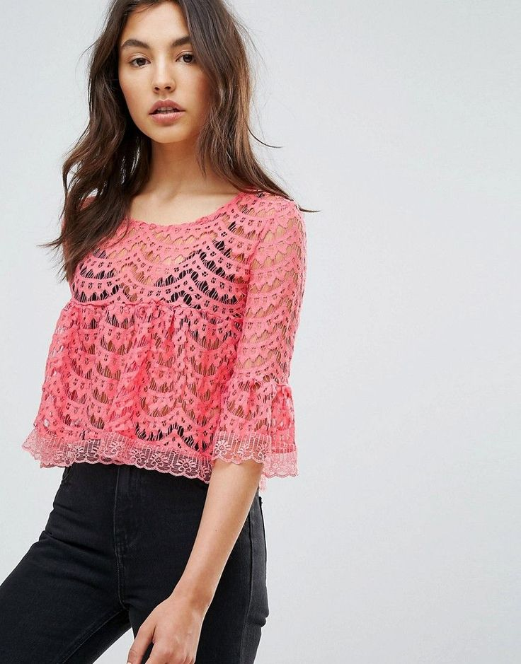 QED London Scallop Lace A Line Top - Pink