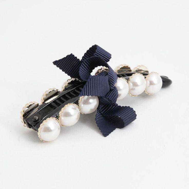 Gleaming Faux Pearl Button Twin Banana Hair Clip   #VeryShine #Clips