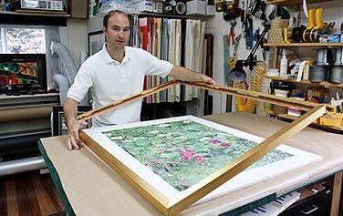mounting and framing unusual media at hershey frame shop north of boston, ma